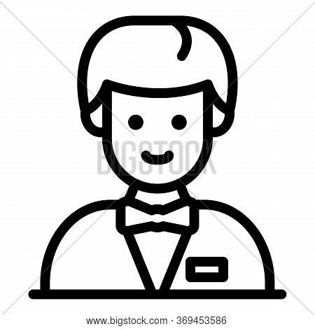 Young Croupier Icon. Outline Young Croupier Vector Icon For Web Design Isolated On White Background