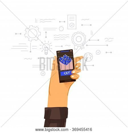 Making Money Online Vector Flat Concept. Human Hand With Phone And Envelope With Money And Business