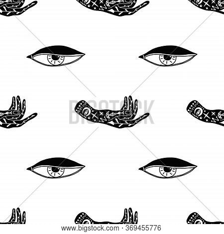 Seamless Pattern Of Mystical And Mysterious Items. Human Hands With Tattoos And The Eye Of A Bird Of