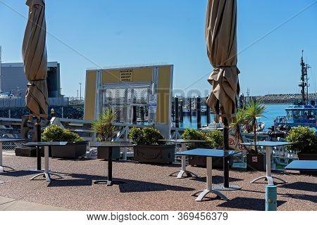 Mackay, Queensland, Australia - June 2020: Empty Tables During Covid-19 Pandemic Social Distancing R