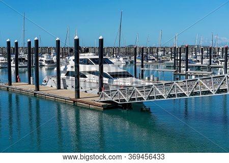 Mackay, Queensland, Australia - June 2020: Luxury Boats Moored At The Marina
