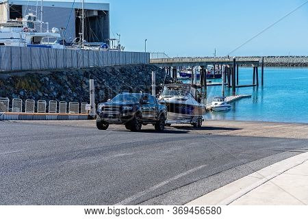 Mackay, Queensland, Australia - June 2020: Fisherman Launching His Boat At Recreational Public Boat