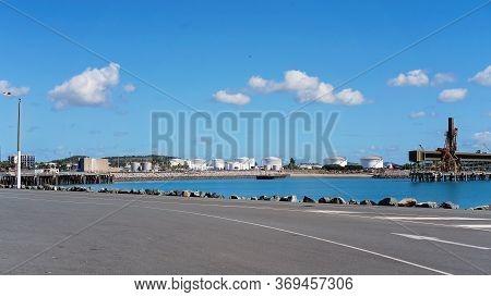 Mackay, Queensland, Australia - June 2020: Industrial Port Of Mackay With It's Sugar And Grain Stora