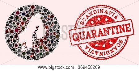 Vector Map Of Scandinavia Collage Of Sars Virus And Red Grunge Quarantine Stamp. Infection Cells Aro