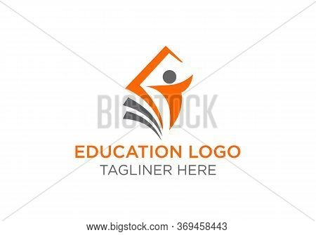 Education Logo With Open Book And Abstract Student Lines, Open Book Logo Concept, Education, School,