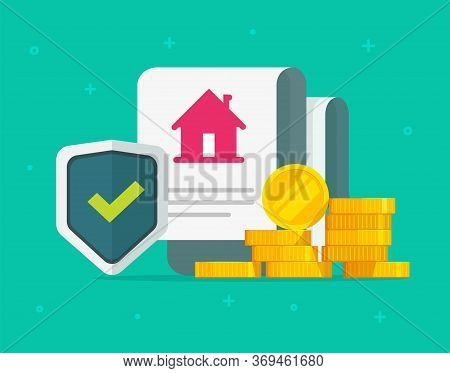 Home Insurance Policy And House Protection Coverage Legal Agreement Document With Money Cash Vector,