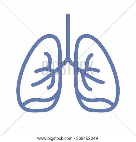 Lung Or Human Lungs Icon Line Outline Art With Bronchial System Vector Cartoon Illustration Clipart