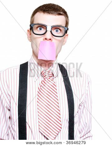 Male Business Dweeb With Purple Sticky Message