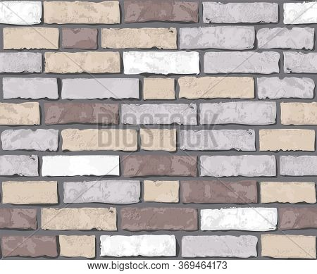 Realistic Vector Brick Wall Seamless Pattern. Flat Wall Texture. Multi-colored Textured Brick Backgr