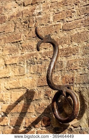 Ancient Wrought Iron Ring In The Shape Of A Snake Or Dragon For Tying With Rope The Animals, Horses,