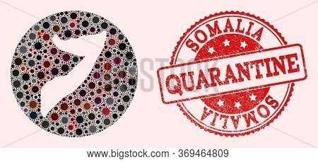 Vector Map Of Somalia Collage Of Covid-2019 Virus And Red Grunge Quarantine Stamp. Infection Cells A