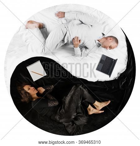 Top Down View Ofadult Couple Lying In Yin Yang Position Indoors. Yin-yang, Symbol Of Harmony Betwee