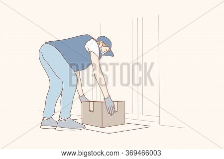Contactless Delivery Concept Illustration. Young Man Or Boy Courier Supplier Cartoon Character Putti