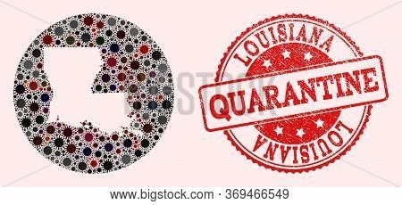 Vector Map Of Louisiana State Collage Of Coronavirus And Red Grunge Quarantine Seal Stamp. Infection