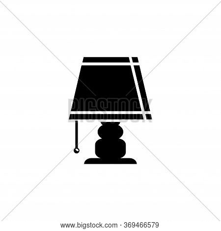 Bedside Table Lamp, Desk Night Light. Flat Vector Icon Illustration. Simple Black Symbol On White Ba