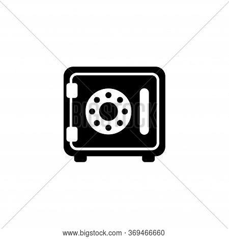 Safe, Money Storage, Confidential Strongbox. Flat Vector Icon Illustration. Simple Black Symbol On W