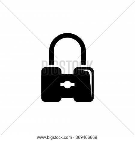 Safety Padlock, Strong Closed Lock. Flat Vector Icon Illustration. Simple Black Symbol On White Back