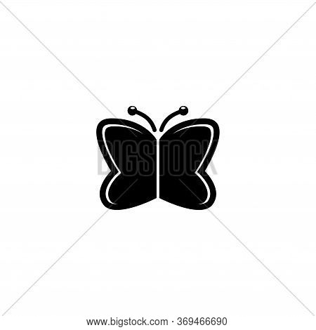 Monarch Butterfly, Moth, Flying Insect. Flat Vector Icon Illustration. Simple Black Symbol On White