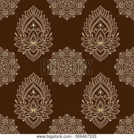 Seamless Decorative Ornament In Ethnic Oriental Style. Circular Pattern In Form Of Mandala And Lotus