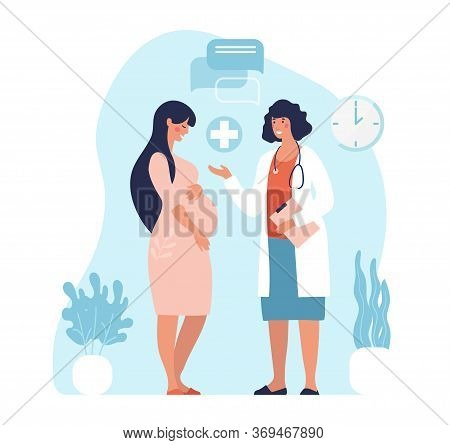 Pregnant Woman At The Doctor S Appointment. A Woman Expecting A Baby Visits A Doctor S Office, Exami