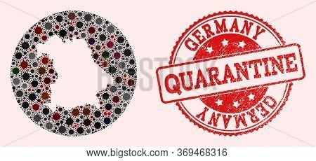 Vector Map Of Germany Collage Of Sars Virus And Red Grunge Quarantine Stamp. Infection Cells Attack