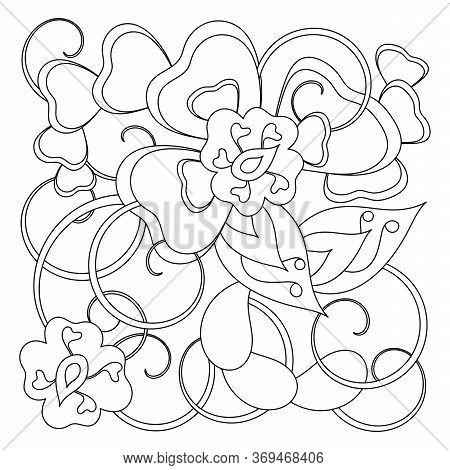 Fantastic Pattern For Anti-stress Coloring Pages. Doodle Art Design Elements. Stylized Flowers And L
