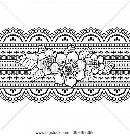 Seamless Borders Pattern With Mehndi Flower For Henna Drawing And Tattoo. Decoration In Ethnic Orien