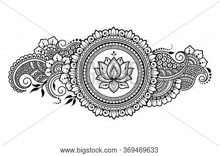 Circular Pattern In Form Of Mandala With Lotus Flower For Henna, Mehndi, Tattoo, Decoration. Decorat