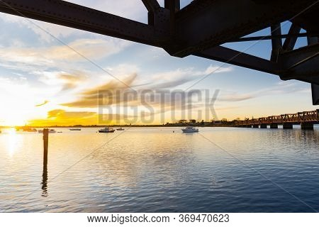 Tauranga Historic Railway Bridge Is A Steel Truss Bridge Crossing The Harbour From City Downtown To