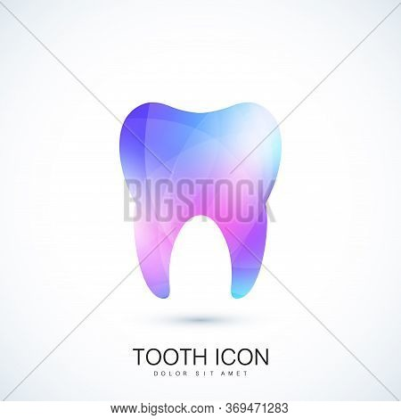 Healthy Tooth In The Trendy Vibrant Gradient Colors Effect. Tooth Logo Icon. Teeth Concept. Care And