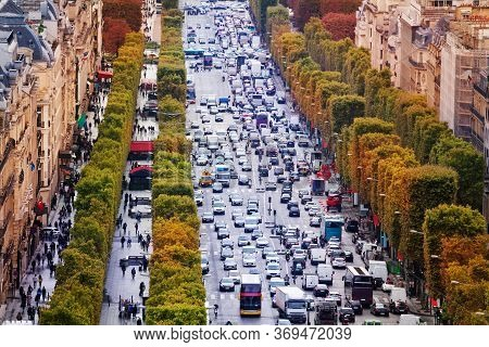 Close-up Of Busy Avenue Of Champs-elysees View From Above In Paris Towards Downtown