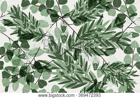 Eucalyptus Twigs Seamless Pattern.  Botanical Textile Ornament. Cute Tropic Wallpapers. Botanical Fl