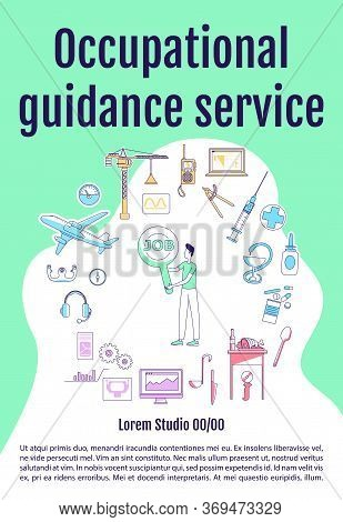 Occupational Guidance Service Poster Flat Silhouette Vector Template. Profession Choice. Brochure, B