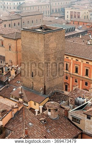 Torre Degli Scappi, Medieval Tower (1219-1220) In Bologna Downtown, Seen From The Bell Tower Of The