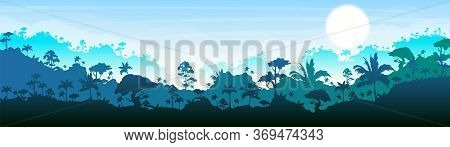 Jungle Flat Color Vector Illustration. Blue Forest Scenery. Bright Panoramic Woods. Tropical Scenic