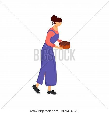 Pastry Chef, Woman With Cake Flat Color Vector Faceless Character. Sweet Bakery Cooking, Confectiona