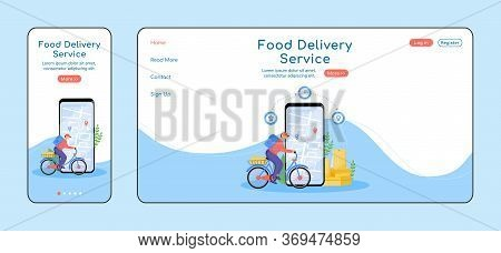 Food Delivery Service Adaptive Landing Page Flat Color Vector Template. Meal Courier Mobile And Pc H