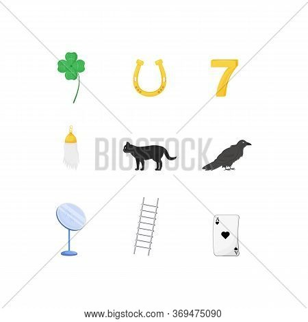 Superstitious Symbols Flat Color Vector Objects Set. Various Good And Bad Luck Signs 2d Isolated Car