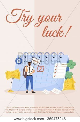 Try Your Luck Poster Flat Vector Template. Superstitious Beliefs. Good Fortune Amulets And Talismans