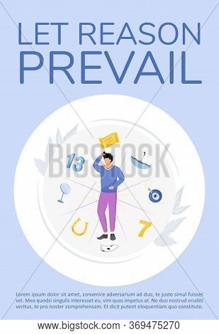 Let Reason Prevail Poster Flat Vector Template. Superstitions And Common Beliefs Brochure, Booklet O
