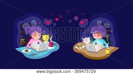 Virtual Relationships. Young Couple On An Online Chat, Referring To Long Distance Love/relationship