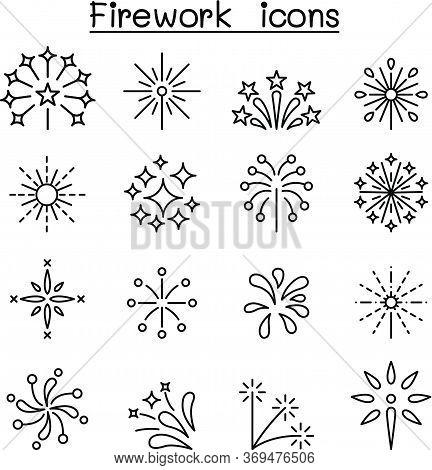 Firework & Firecracker Icon Set In Thin Line Style