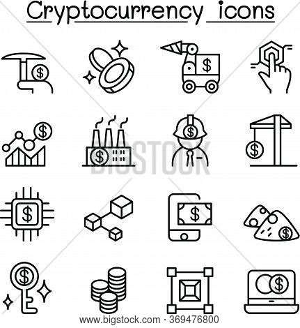 Cryptocurrency , Blockchain & Ico Icon Set In Thin Line Style......