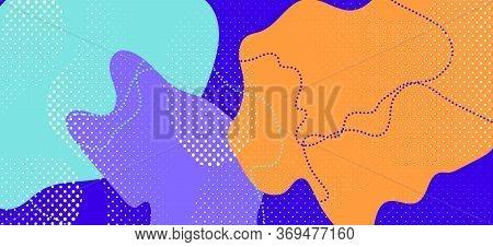 Purple Memphis Page. Hipster Geometric Illustration. Futuristic Liquid Backdrop. Colorful Flow Broch