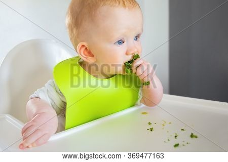 Cute Red Haired Baby Eating Broccoli, Sitting In Highchair. Little Child Wearing Plastic Bib Having