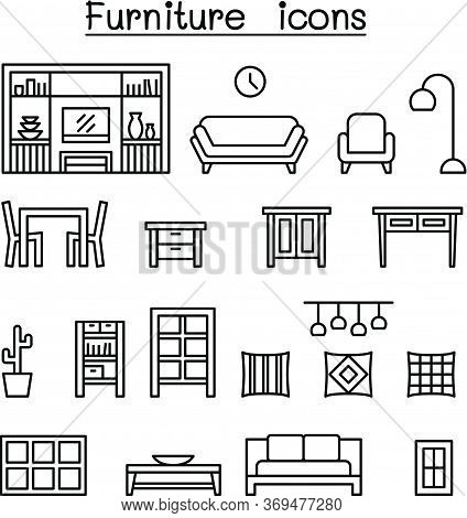 Furniture & Home Decorate Items Icon Set In Thin Line Style
