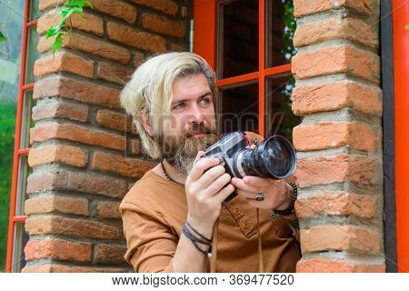 Undercover Spy. Journalist. Snapshot. Paparazzi Taking Picture. Man With Photo Camera. Take A Shoot.