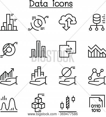 Data Diagram, Graph, Infographic Icon Set In Thin Line Style