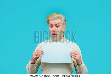 Copy Space For Text. Insert Your Text. Sale. Discount. Advertising Banner. Man With Blank Board. Man