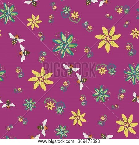 Honey Bee And Flowers Vector Seamless Pattern Background. Hand Drawn Insect And Painterly Florals On